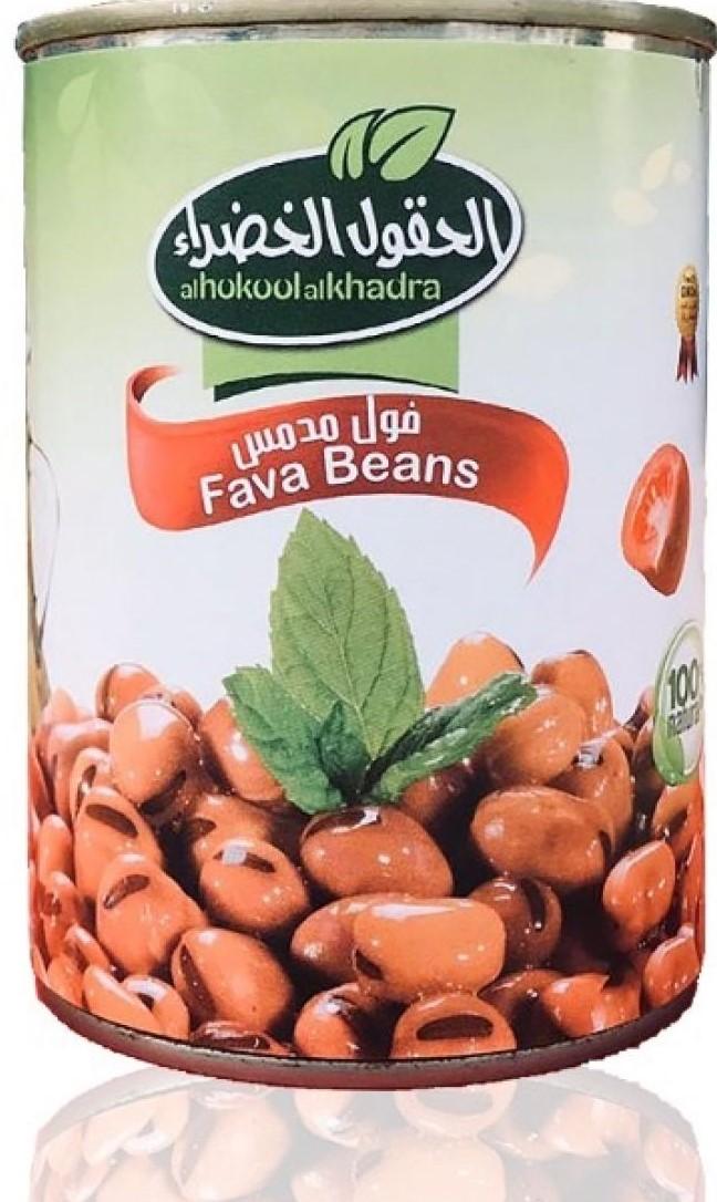 Alhokool alkhadra Gekochte Fava Bohnen/ Foul Medammas 400g  فول مدمس سادة الحقول الخضراء
