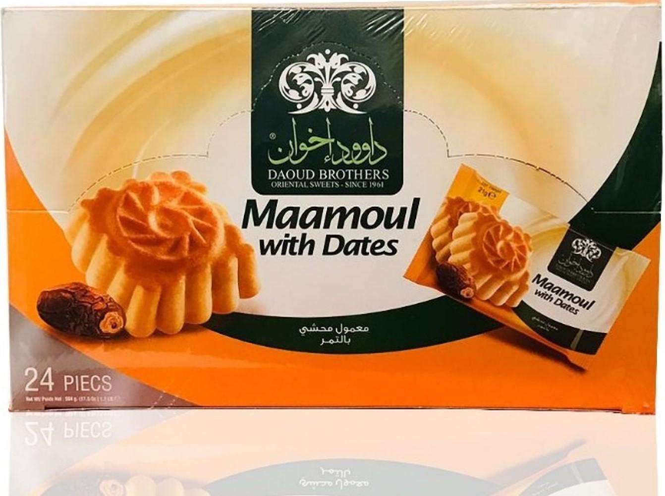 Daoud Ikhwan Mini Mamoulna - gefüllt mit Datteln 24x21g  504g معمول بالتمر داود