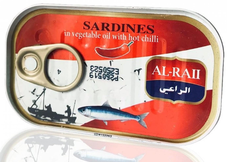 Al Raii sardinen in pflanzenöl mit scharfem chili 125g سردين بالزيت النباتي مع الحرالراعي