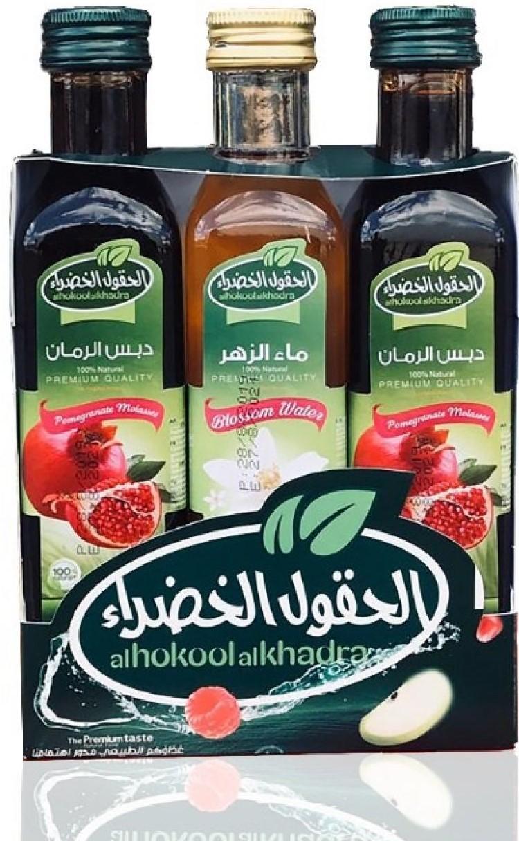 Alhokoolalkhadra 2 Granatapfelsirup + 1 Rosenwasser دبس رمان مع عرض ماء الزهر الحقول الخضراء