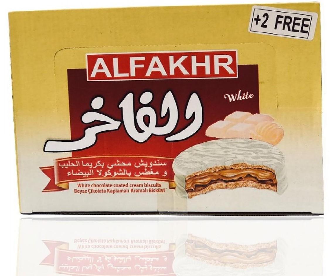 Alfakher weiße Schokoladen Kekse mit creamiger Milchfüllung 24x30g (720g) بسكوت  شوكو حليب الفاخر