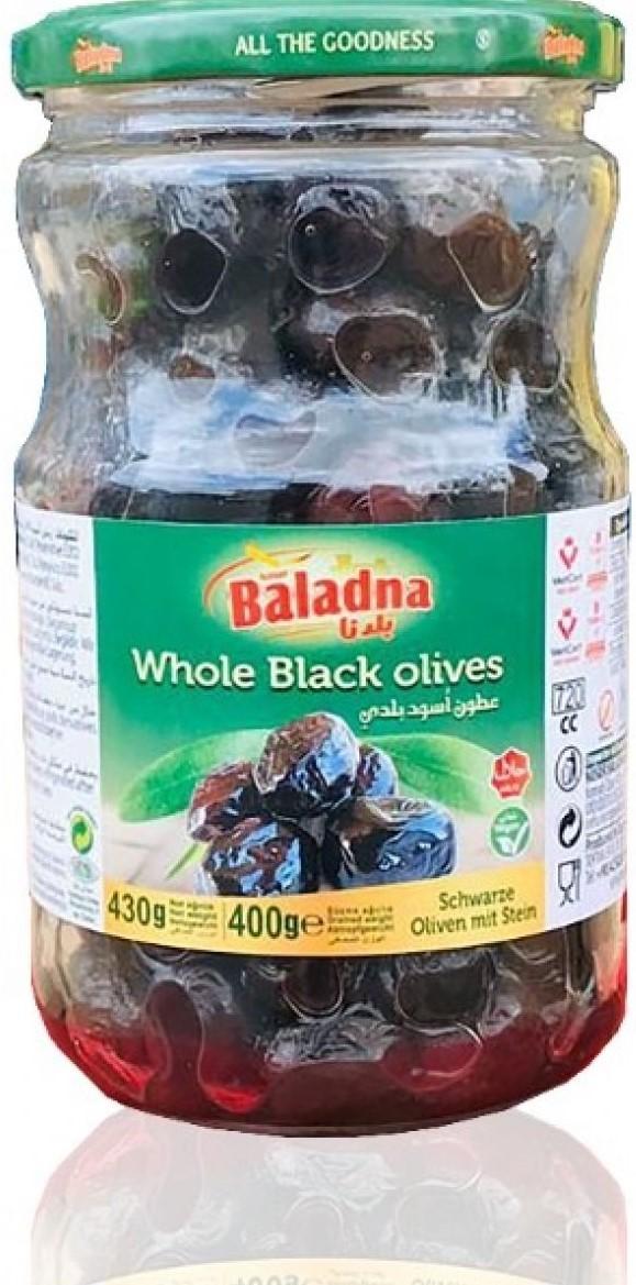 Baladna oliven schwarz 430g زيتون اسود عطون بلدنا